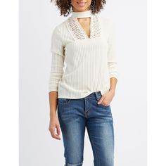 Charlotte Russe Ribbed Crochet-Trim Mock Neck Top ($22) ❤ liked on Polyvore featuring tops, sweaters, pristine, long sleeve sweater, crochet sweater, mock neck sweater, white ribbed turtleneck and ribbed turtleneck sweater