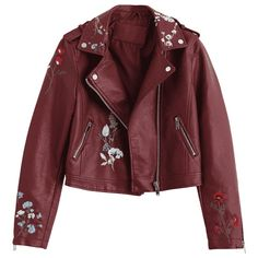 Floral Patched Zippered Faux Leather Jacket ($33) ❤ liked on Polyvore featuring outerwear, jackets, red zip jacket, zipper jacket, floral-print bomber jackets, synthetic leather jacket and vegan jackets