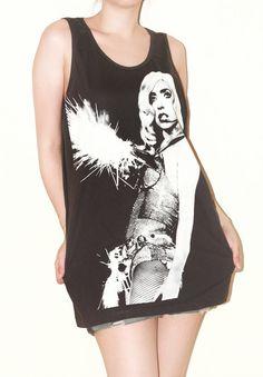 Lady Gaga Women Top Charcoal Black Sleeveless Shirt Tank Top Tunic Photo Art Punk Rock Pop T-Shirt Size L