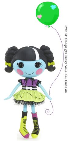 """with her arm up, so it looks like she is floating away. """"Even if things get heavy we all float on"""" instead of the string Lalaloopsy tattoo design"""
