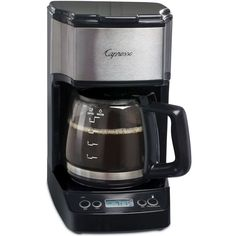 Capresso 5-Cup Mini Drip Programmable Coffee Maker ($40) ❤ liked on Polyvore featuring home, kitchen & dining, small appliances, no color, mini coffee maker, capresso coffee maker, coffee machines, coffee maker and capresso