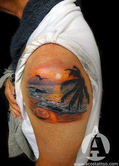 Andrés Acosta   Tattoo Artist   Houston TX: Beach Sunset Tattoo