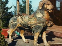 This PTC carousel dog, Bruno, still holds the record for the highest price paid at auction for a carousel figure, selling for $174,900 in 1992. from http://antiquecarousels.com/category/ac-carousel-news-blog/