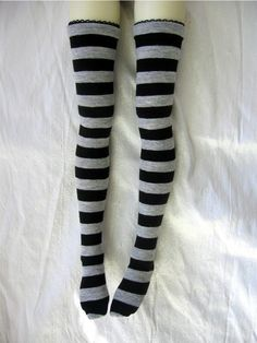 Stripe Thigh Hi Stockings - Gray/Black