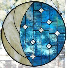 Moon  Stars - by MKW Designs #StainedGlassVitrales
