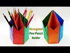 How to Make Paper Pen Stand/Holder | Hexagonal Paper Pen Pencil Holder | Origami Pen Holder - YouTube