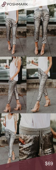 EVIE Sequin Joggers - SILVER PERFECT FOR THE HOLIDAYS, A GIRLS NIGHT OUT AND HOT DATE  Available in rose gold and silver.  soft lining inside  NO TRADE  PRICE FIRM Bellanblue Pants