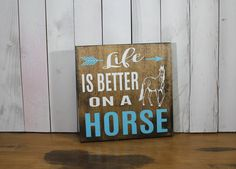 Still Time Christmas LIFE is Better on a HORSE Sign/Farm Art/Farm Sign/Horse Lover/Christmas Gift/Wood Sign - $25.46 USD
