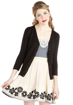 Pleats and Thanks Skirt - Cotton, Knit, Short, Cream, Black, Floral, Pleats, Daytime Party, A-line, White
