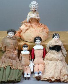 *STUPENDOUS*6pc Doll House Sized China+Half Doll Ladies-Bonnet Head ALL ORIGINAL