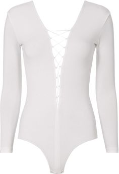 Alexander Wang Lace-Up White Bodysuit White L