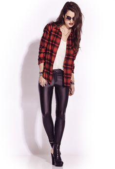 Forever 21 Tough Girl Faux Leather Skinny Pants in Black