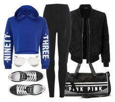 """""""Sporty Day"""" by monmondefou ❤ liked on Polyvore featuring LE3NO, adidas Originals, New Look, Kenzo, Victoria Beckham, black and Blue"""