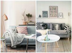 sofá cinza, sala com sofá cinza