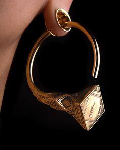 Tuareg Gauged Hoop Earrings Brass