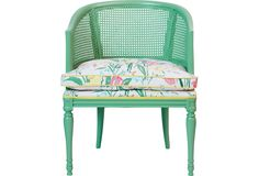 One Kings Lane - Green Cane Chair w/ Floral Fabric