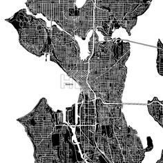 Seattle, Washington. Downtown vector map.  #american #area #atlas #background #black #clean #design #downtown by #Hebstreit
