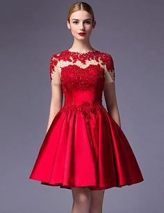 Vestido-Vermelho Festa de Coquetel De Baile Decorado com Bijuteria Até os Joelhos Cetim de 4933658 2016 por $99.99