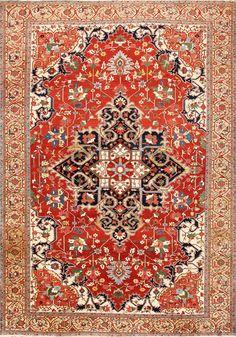 Beautiful Antique Persian Serapi Rug 48642