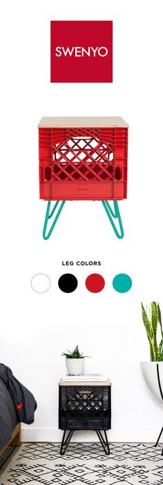Red Room Crate Nightstand by @swenyo. Choose from four different leg colors…