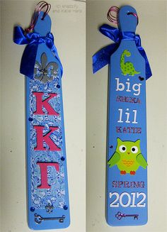 Sorority Paddles | Kappaa Kappa Gamma | Love the front of this KKG paddle! #greek #sisterhood #biglittle