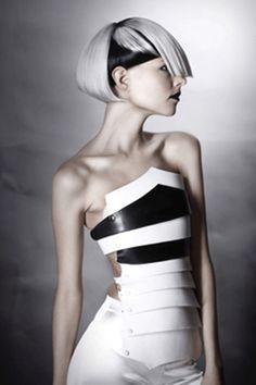 future fashion, futuristic look, strange hair, unique hairstyle, fashion girl, model, futuristic style, cyber fashion, cyber girl, cyberpunk by FuturisticNews.com