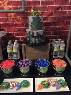 Cookies at a TMNT birthday party! See more party planning ideas at… Turtle Birthday Parties, 5th Birthday Party Ideas, Ninja Turtle Birthday, Ninja Turtle Party, Carnival Birthday Parties, Tmnt Party Ideas, Ninja Turtles, 4th Birthday, Frozen Party Games