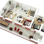 8 More 3 Bedroom 3D Floor Plans -