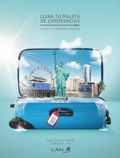 Con la finalidad de vender los destinos que ofrece EE.UU. Lan decidió mostrar dentro de los suitcase los lugares y experiencias que nos esperan.