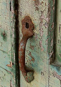 Chippy Green Door & Rusty Handle