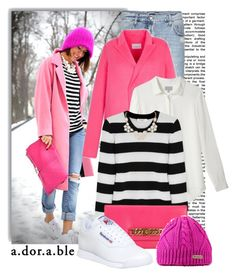"""""""Pink, White, & Stripes"""" by dixiebelle81 ❤ liked on Polyvore featuring McQ by Alexander McQueen, Sandro, Equipment, Marc by Marc Jacobs, Reebok and Humble Chic"""
