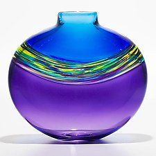"Transparent Banded Vortex Vase in Cerulean Cool Lime and Grape by Michael Trimpol and Monique LaJeunesse (Art Glass Vase) (10.5"" x 10.5"")"