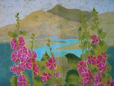 Cuadro de flores y montañas