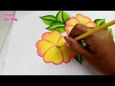 Pintura en tela como pintar flores amarillas fáciles - YouTube Acrylic Painting Flowers, Simple Acrylic Paintings, One Stroke Painting, Saree Painting Designs, Fabric Paint Designs, Fabric Drawing, Fabric Painting, Leaf Flowers, Paper Flowers