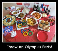 Olympic themed party!  Cute food ideas.  Perfect for watching the olympics