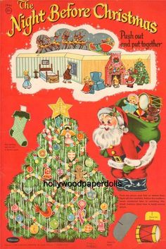 vintage uncut 1958 the night before christmas playbook repro original size - Night Before Christmas Book