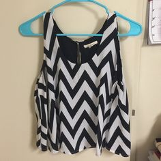 chevron tank loose chevron tank with button back Tops Blouses