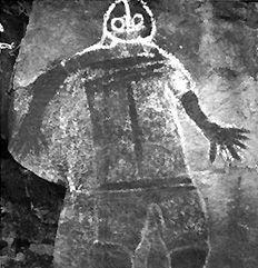 Ancient Alien Aboriginal Art Helmeted Figure, Victoria, Australia