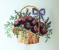 Rose Peony Basket in Brazilian Embroidery