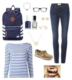 """""""Blue Stripes"""" by sk8gr8 on Polyvore featuring Herschel Supply Co., Frame, Sperry, Essie, Ray-Ban, Sally Hansen, Pori, Dutch Basics, Yves Saint Laurent and Everest"""