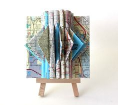 Map of Seattle Altered MiniSculpture by yinsteadofi on Etsy, $20.00