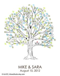 Hand Drawn Wedding Guest book Fingerprint Tree por AlicesStudio, $20.00