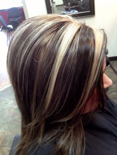 Chunky highlight over dark hair for lots of contrast!