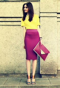Loving this skirt and color combination!