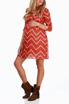 Rust Beige Chevron Print Maternity Dress
