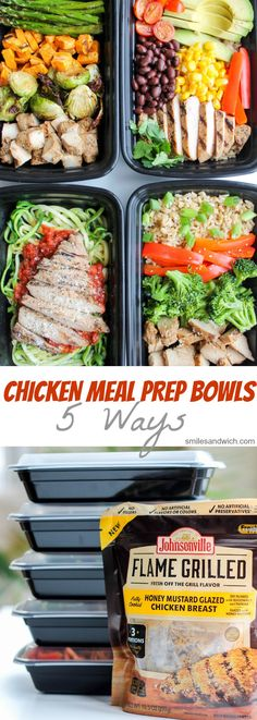 Chicken Meal Prep Bowls: 5 Ways - this is a quick and easy way to have healthy lunch recipes and healthy dinner recipes for the week! #ad