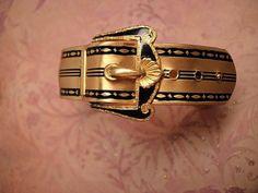 ANtique Victorian bracelet Mourning Buckle black enamel