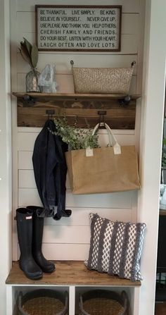 Easy diy mudroom. Farmhouse feel in small space and works as a great drop zone for kids!