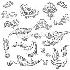 Set of vector vintage baroque engraving floral scroll filigree design Elements Of Art, Design Elements, Baroque Frame, Gravure Metal, Molduras Vintage, Filigree Tattoo, Ornament Storage, Ornament Drawing, 3d Quilling