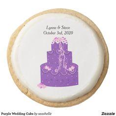 Purple Wedding Cake Round Shortbread Cookie